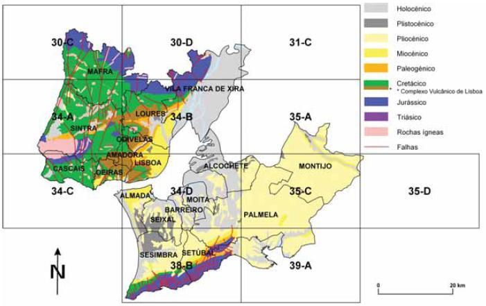 mapa geologico de lisboa Homogeneização da Cartografia Geológica do Cenozóico da Área  mapa geologico de lisboa